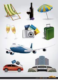 Conjunto de 9 elementos de turismo vacacional.