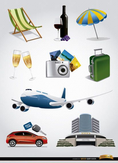 9 Vacation tourism elements set