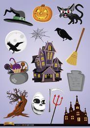 15 elementos de desenho animado de Halloween de terror
