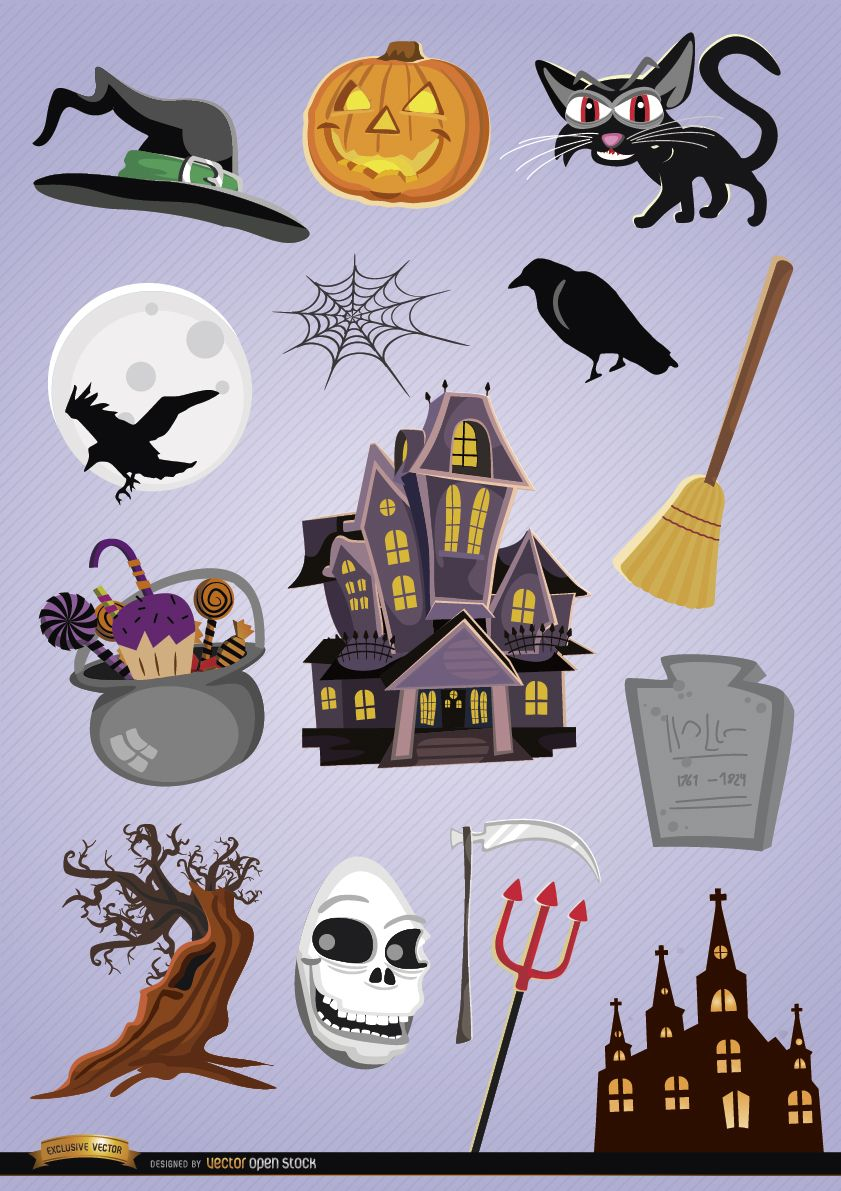 15 Elementos De Desenho Animado De Halloween De Terror Baixar Vector