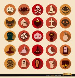 25 iconos redondos de terror Halloween