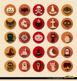 25 iconos redondos Terror de Halloween