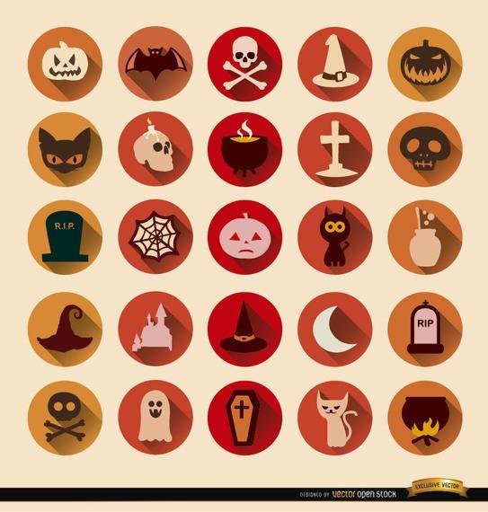 25 Terror Halloween ícones redondos
