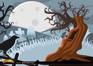 Cuervo espeluznante y fondo del árbol