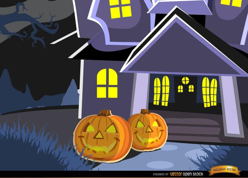 Haunted mansion and pumpkins background