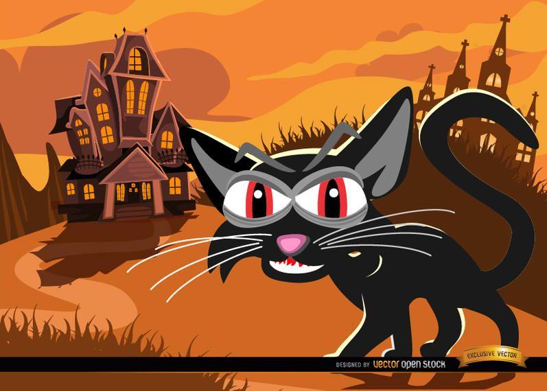 Gato preto e fundo de mansão assombrada