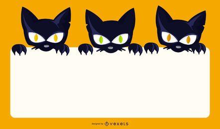 Gatos assustadores do Dia das Bruxas que prendem a bandeira em branco