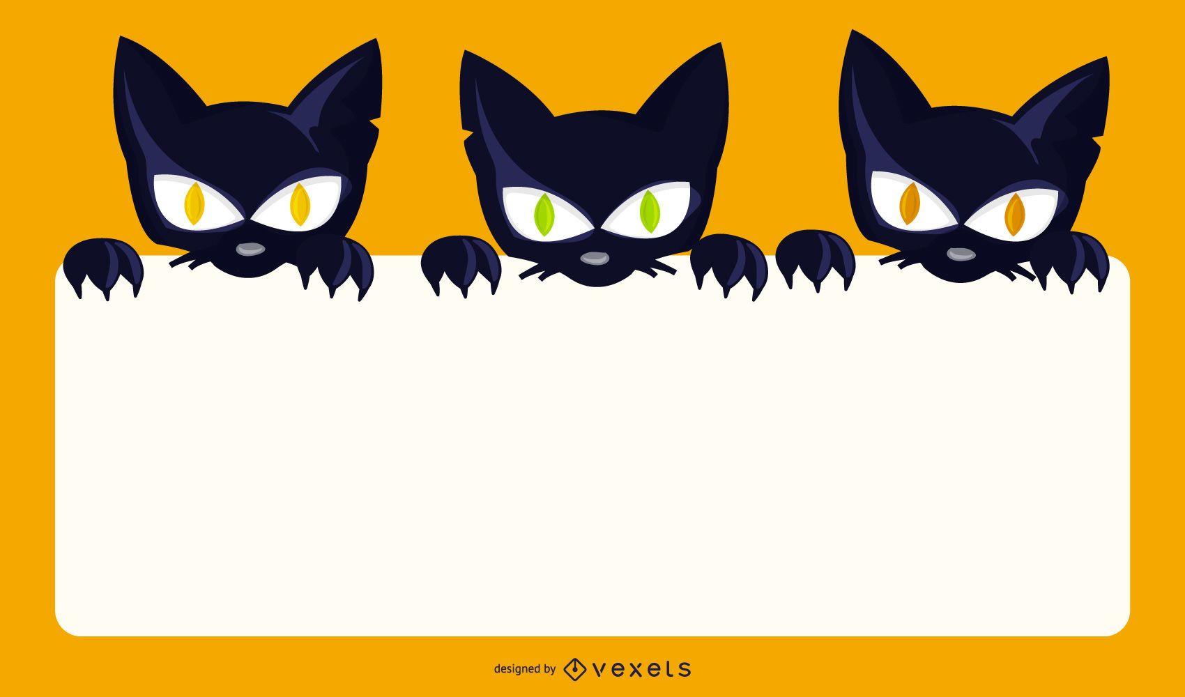 Creepy Halloween Cats Holding Blank Banner