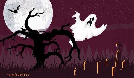 Cartel de Halloween con fantasma en el árbol muerto