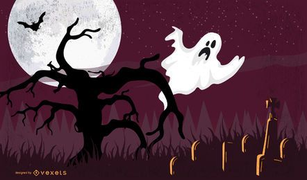 Halloween Poster with Ghost on Dead Tree