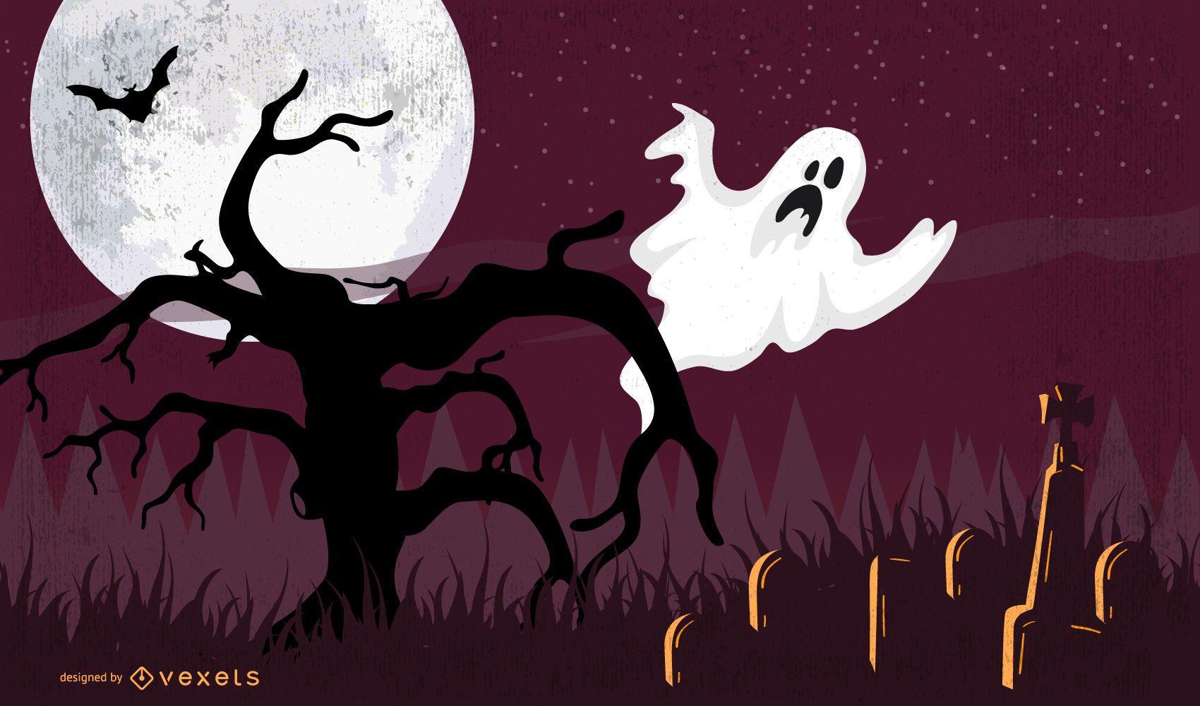 Cartel de Halloween con fantasma en árbol muerto