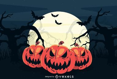 Large Full Moon Creepy Halloween Background