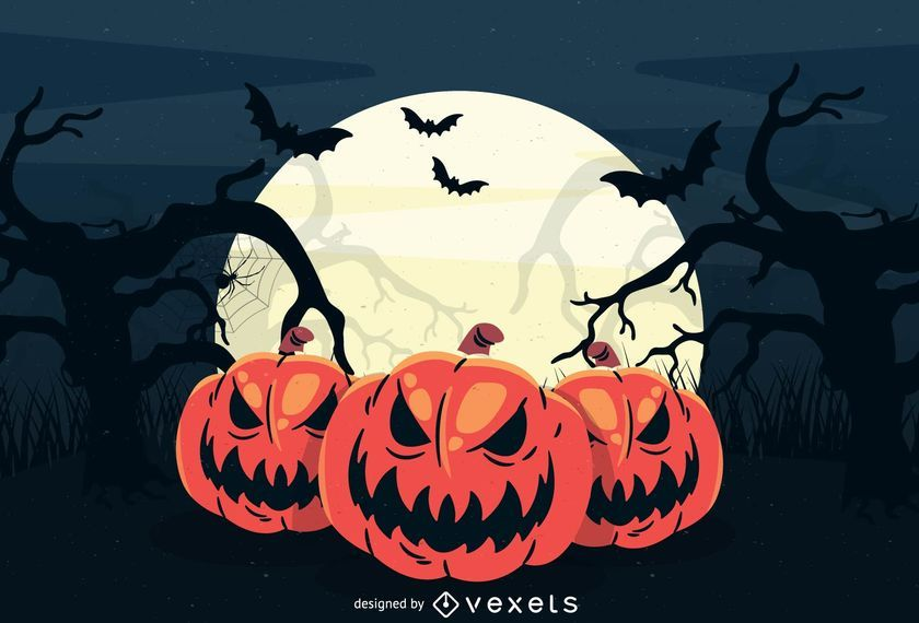 Large Full Moon Creepy Halloween Background