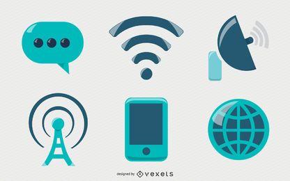 Conjunto de iconos de comunicación brillante