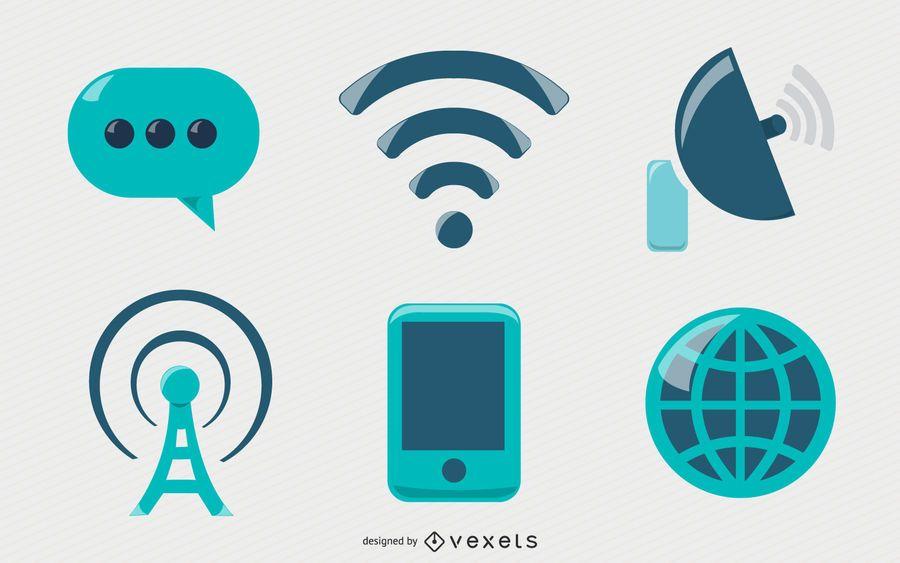 Conjunto de ícones de comunicação brilhante