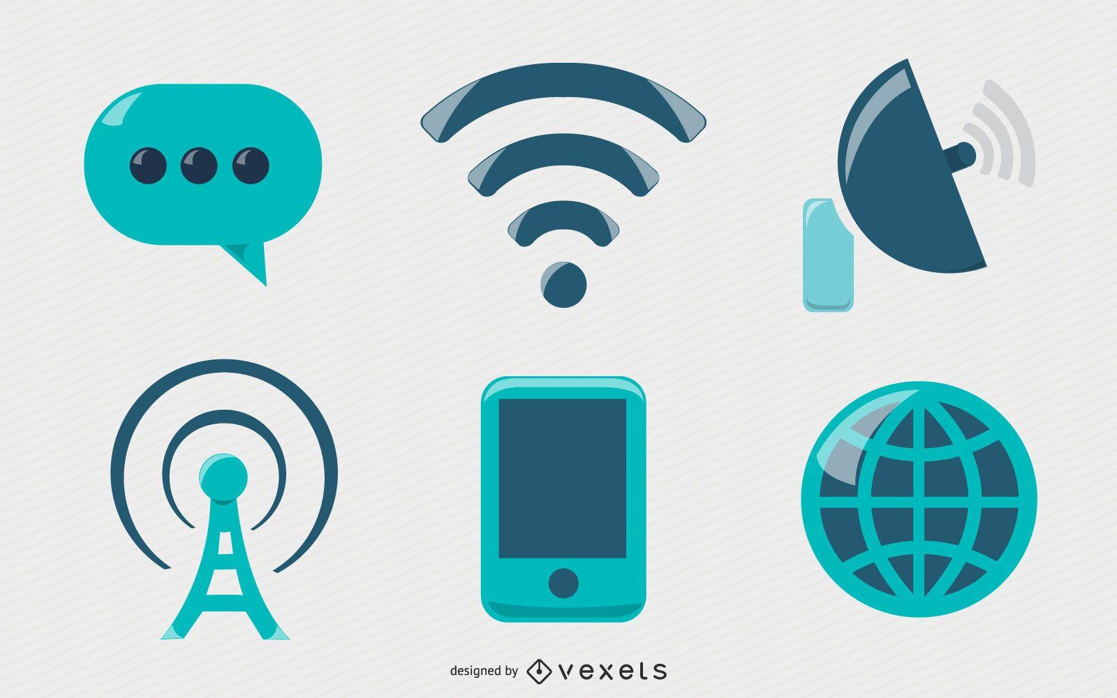Conjunto de ícones de comunicação brilhantes