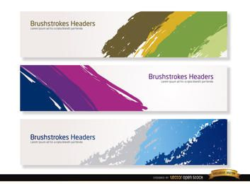 Colorful brushstrokes headers