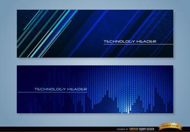 Encabezados de tecnología azul