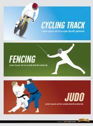 Cabeçalhos de esportes de ciclismo esgrima judô