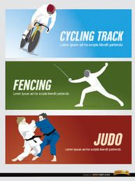 Cycling, fencing, judo sport headers