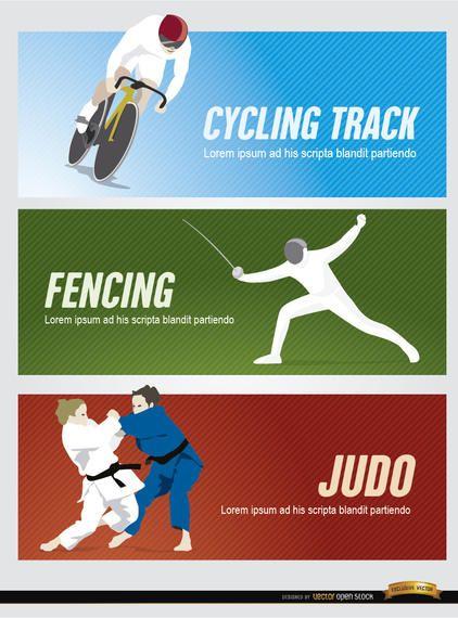 Cycling, fencing, judo sport headers