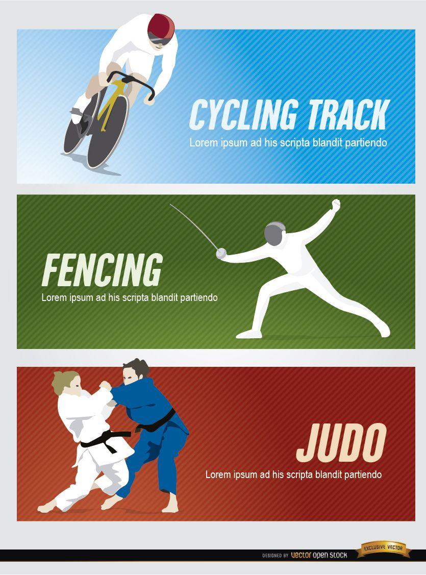 Cycling fencing judo sport headers