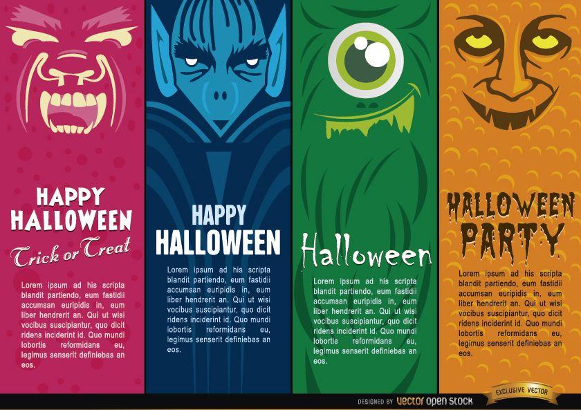 Halloween monsters bookmarks