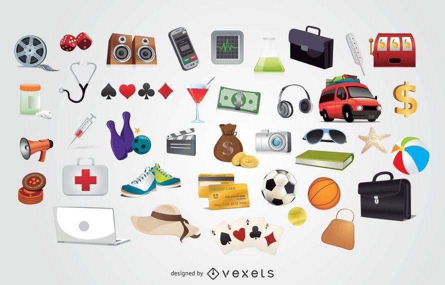Set de 40 iconos de entretenimiento de vacaciones