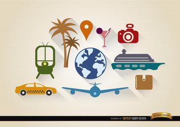 Conjunto de 10 elementos de turismo de viaje.