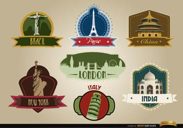 7 Countries landmark emblems
