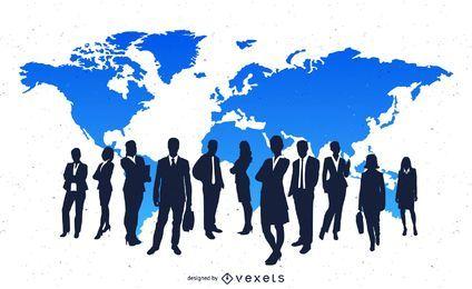 Betriebswirtschaftlicher Hintergrund mit Unternehmensvölkern