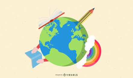 Planeta verde con lápiz y libro alrededor