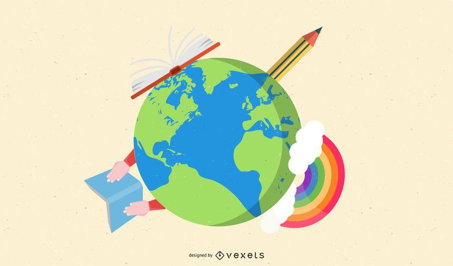 Grüner Planet mit Bleistift & Buch herum