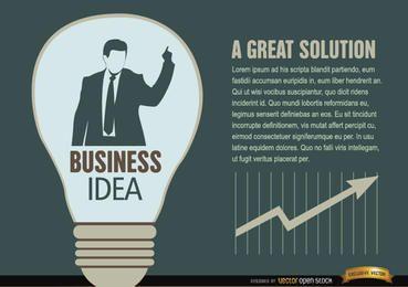 Lâmpada de ideia de empresário