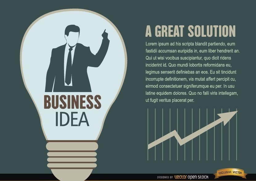 Bombilla de luz de idea de empresario