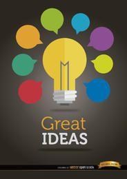 Bombilla de luz de ideas coloridas
