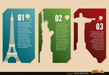 Tarjetas de monumentos de Francia EE. UU. Brasil