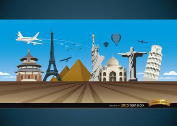 Viajar maravillas alrededor del mundo de fondo.