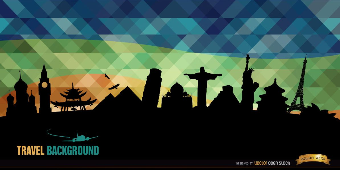 World monuments silhouettes background