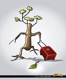 Árvore em extinção, deixando a maleta