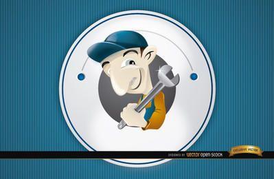 Logotipo dos desenhos animados de encanador redondo