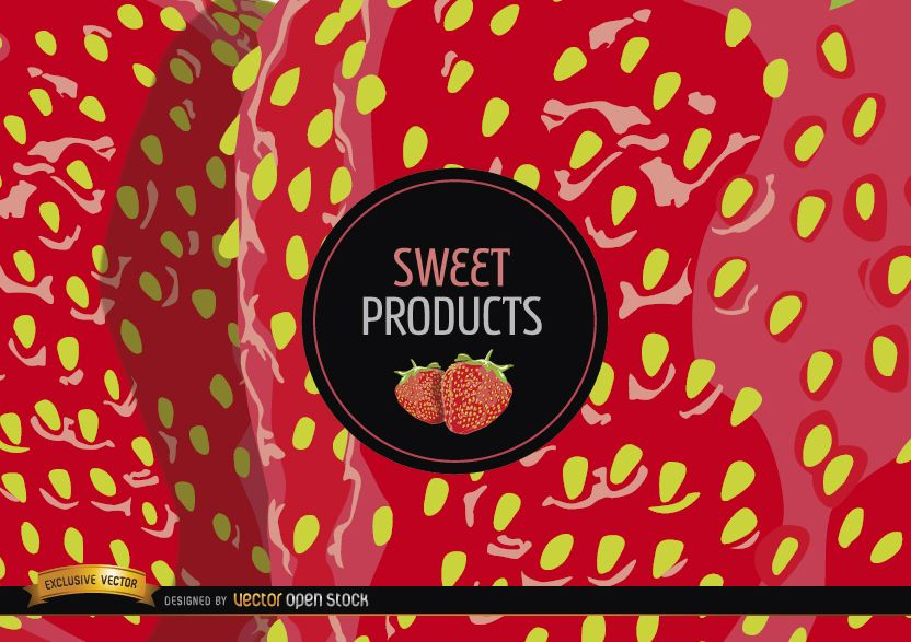 Strawberry background and label