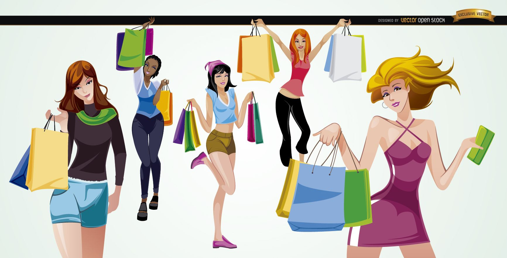 5 Meninas Com Sacolas De Compras Baixar Vector