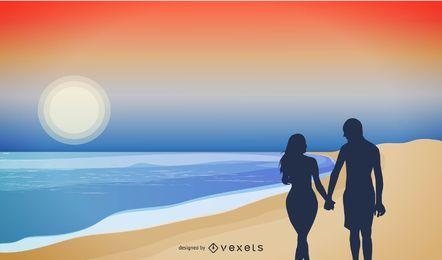 Playa pareja silueta