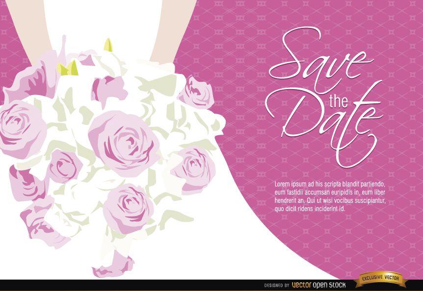 Wedding invitation bride flowers - Vector download