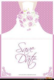Flores de vestido de convite de casamento