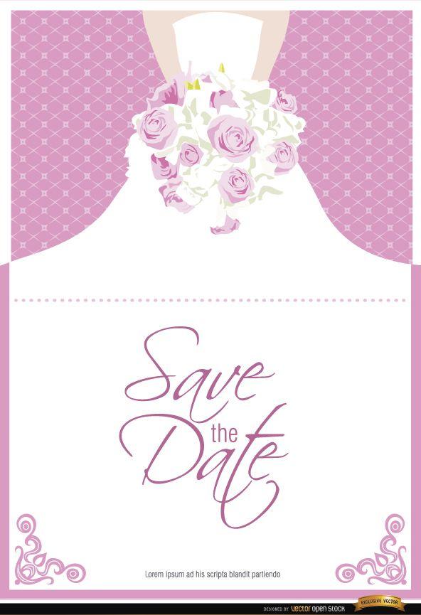 Invitación de matrimonio vestido flores