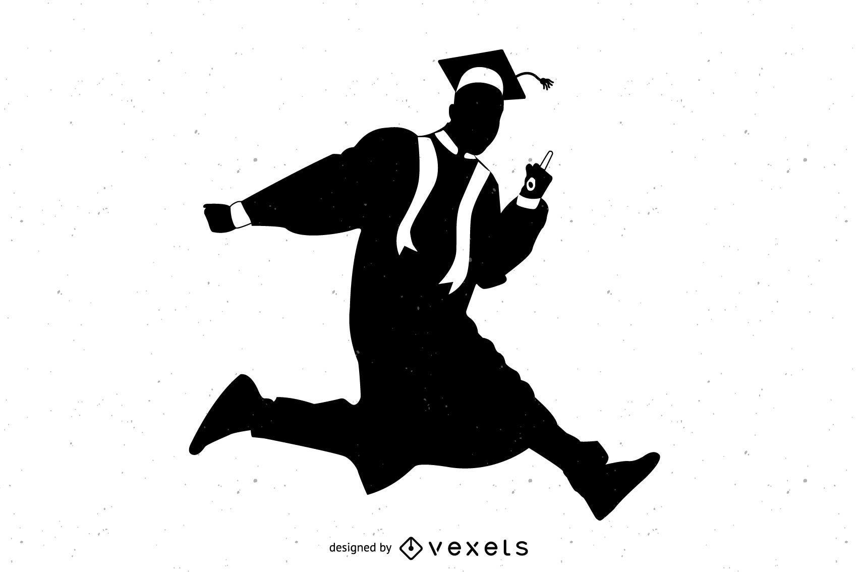 Silueta de graduado feliz saltando en el aire
