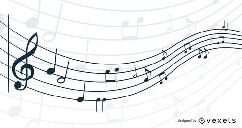 Nota musical 3D ondulante