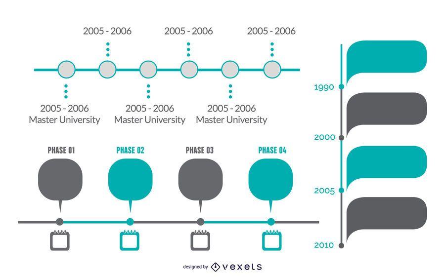 Elegante infografía y proyecto conjunto de línea de tiempo